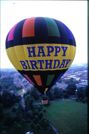 A Happy Birthday hot air balloon ride.