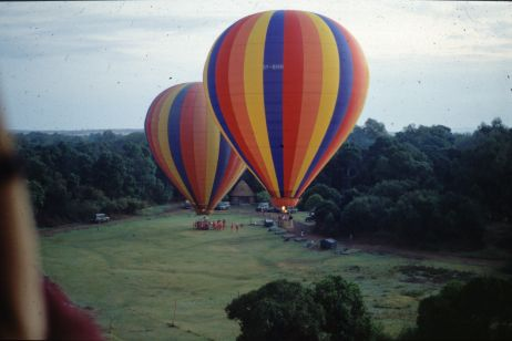 Hot air balloons taking off at the beginning of the flight.