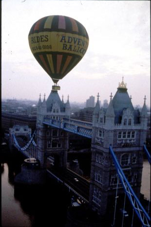 A hot air balloon ride over Tower Bridge in London, England.