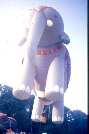 Special shape hot air balloons come in all shapes, sizes and colours such as this one of an elephant.