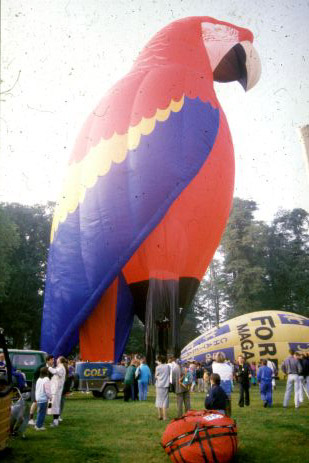 Special shape hot air balloons come in all shapes, sizes and colours such as this one of a parrot
